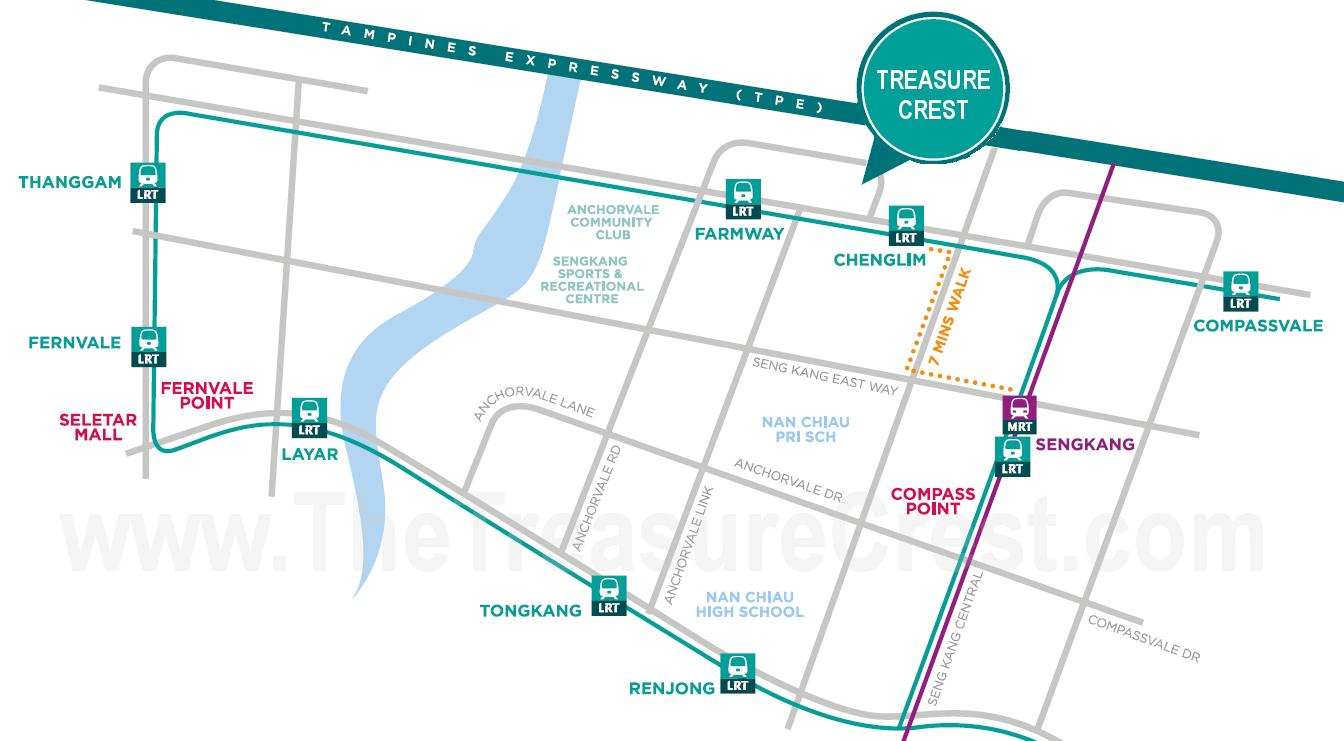 The Treasure Crest EC Location Map :: Amenities & Neighbourhood